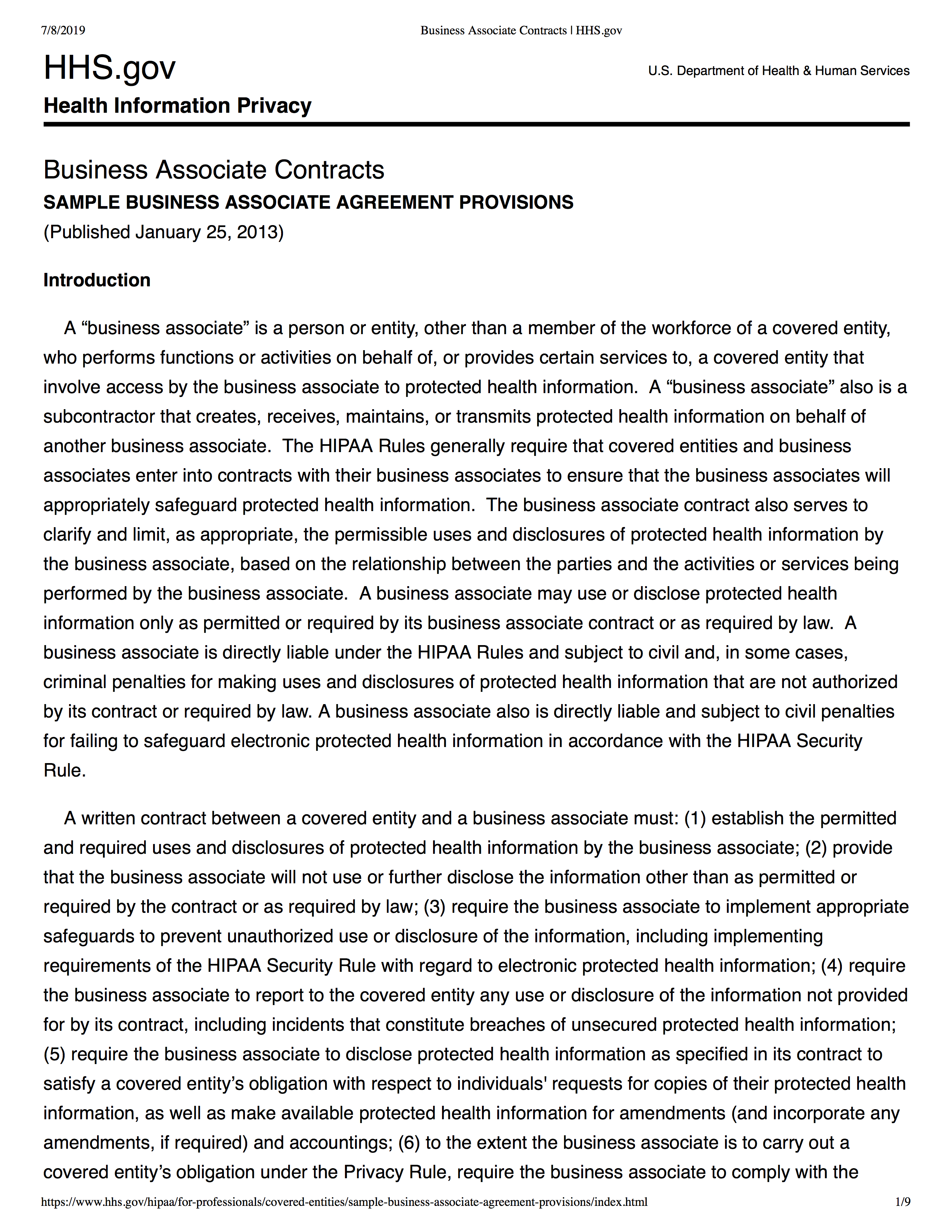 Business Associate Contracts Community Commons